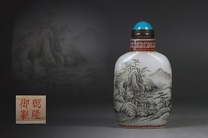 【1707B15049】中国 清 時代唐物 古い瑠璃手描き『山水人物物語』ガラス細工 鼻煙壷 薬壷
