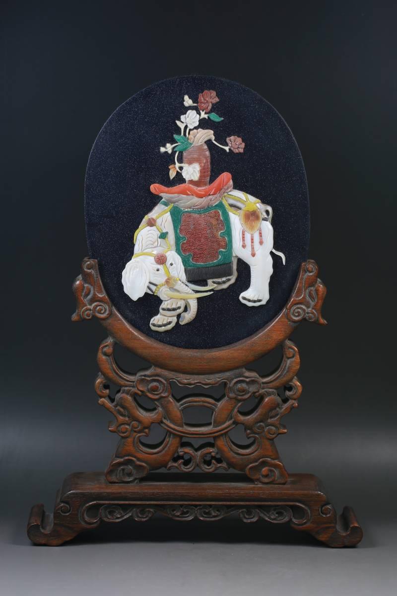 【1707A180084】中国 清 時代唐物 古い瑠璃 百宝嵌 『吉祥』屏風 屏 置物 古玩