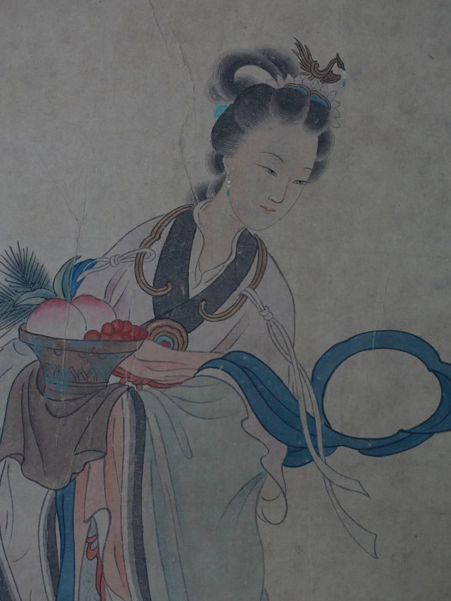 【1707ZH80028】中国美術 手巻き画絵巻冷枚『仙女図』立軸 精品軸_画像2
