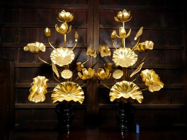 【桜】寺院仏具 木製 金箔 常花一対 26本 約100cm 銅造 花立/仏閣 荘厳