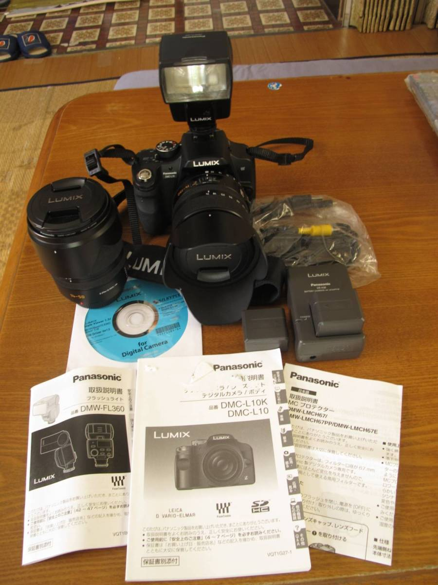 Pnasonic デジタルカメラ 中古品美品  DMC-L10K ワイドレンズ・フラッシュ付き