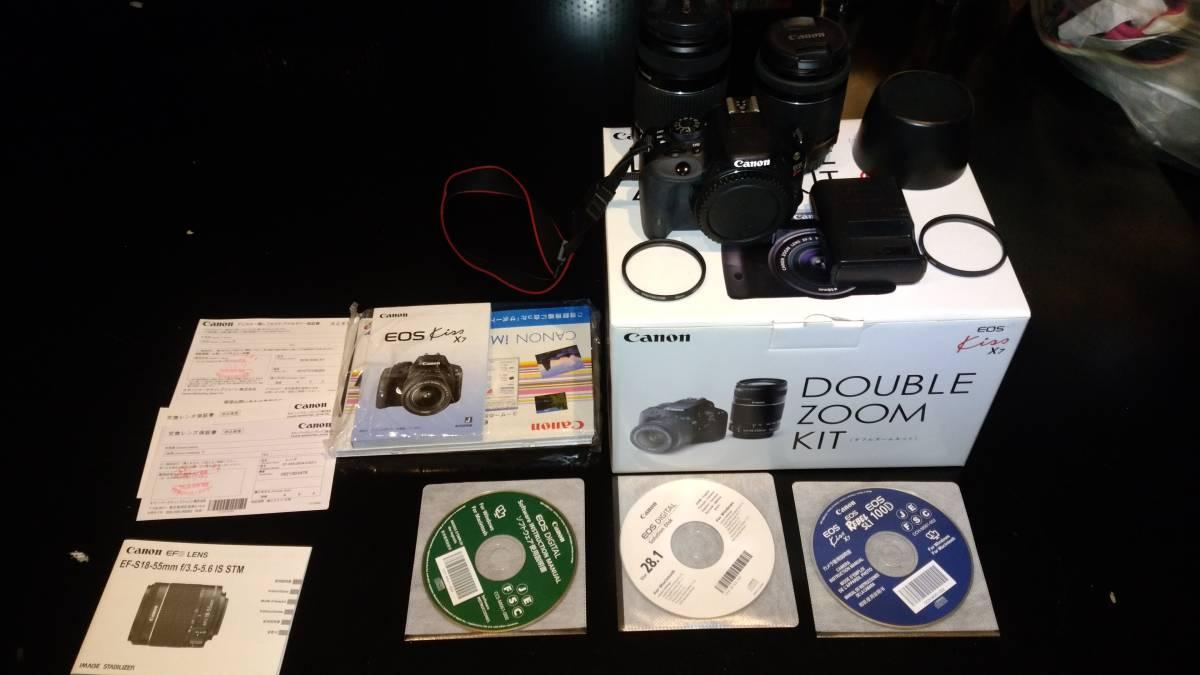 売切り中古美品 Canon キャノン デジタル一眼レフカメラ EOS Kiss X7 ダブルズームキット EF-S 18-55㎜ EF-S 55-250㎜ Yahoo!かんたん決済