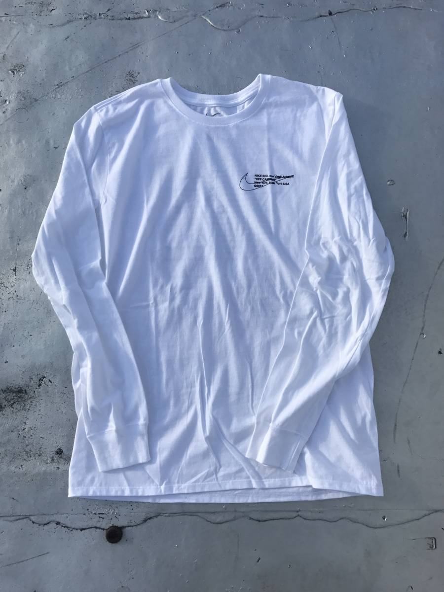 L Nike x Off-White Virgil Abloh Off Campus Long Sleeve Tee White NY Pop Up 白 Tシャツ ナイキ オフホワイト