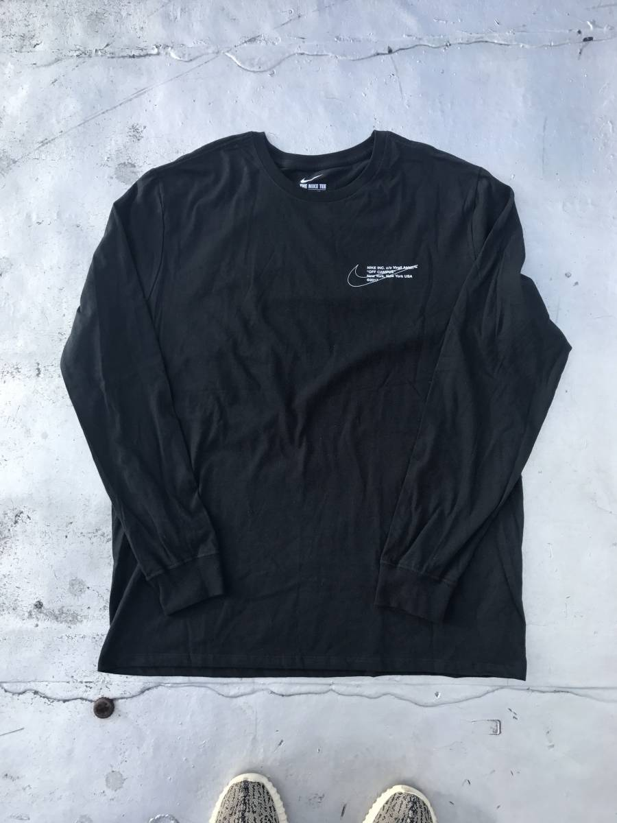 XL Nike x Off-White Virgil Abloh Off Campus Long Sleeve Tee Black NY Pop Up 黒 Tシャツ ナイキ オフホワイト