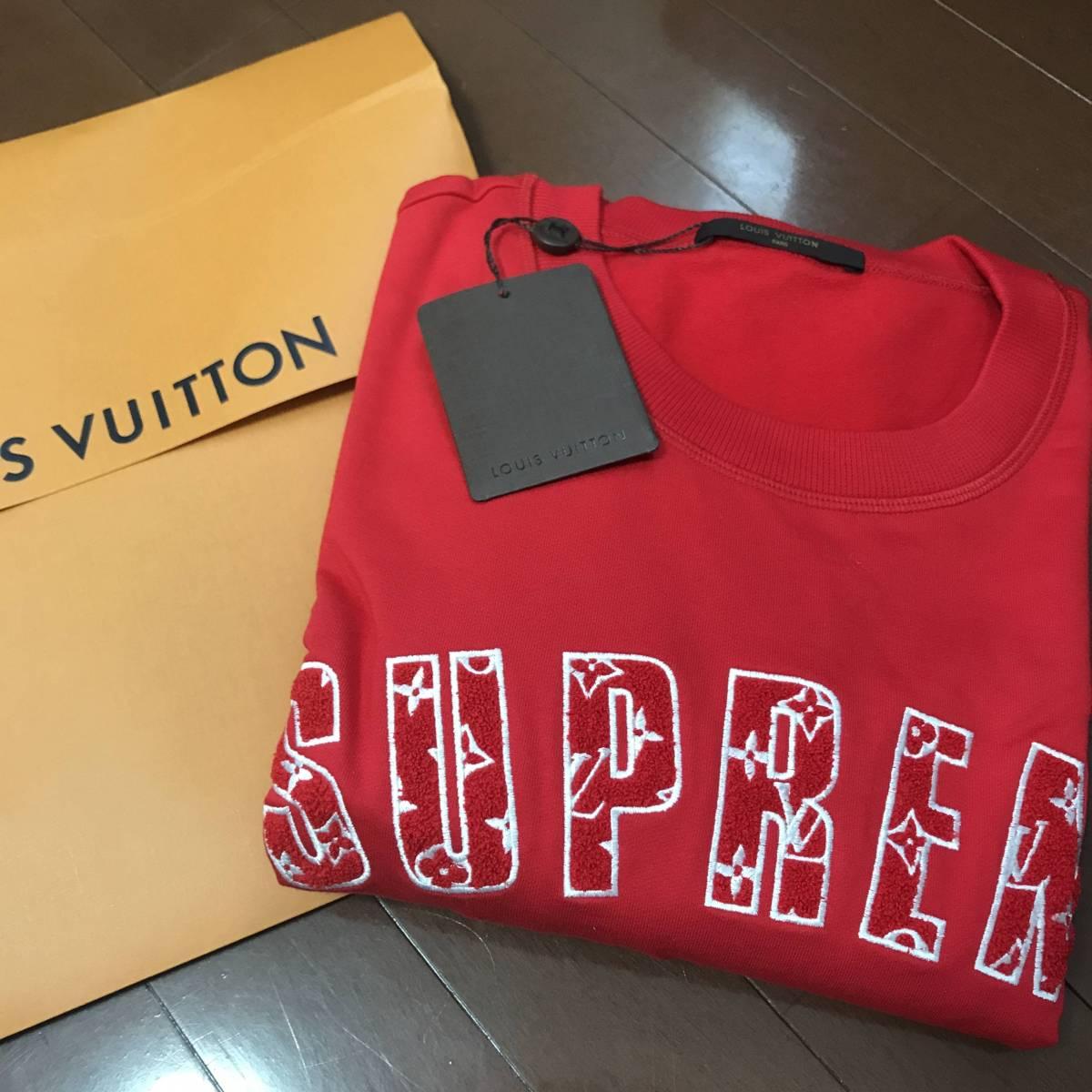 希少品 限定品 Supreme Louis Vuitton コラボトレーナー アーチロゴ 赤(ビッグサイズ・4L)