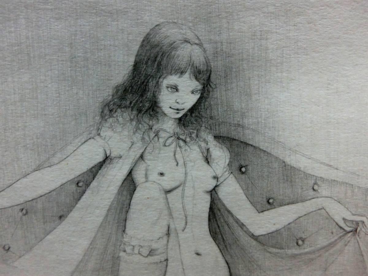 山本六三 ◆直筆 肉筆画 「少女」◆鉛筆画作品 自筆サイン◆77gallery 取扱◆エロス・タ