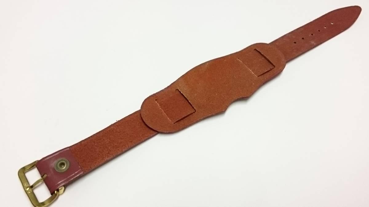 [18mm] ビンテージ アテ革 ミリタリー レザーベルト① ブラウン 金色尾錠_画像2