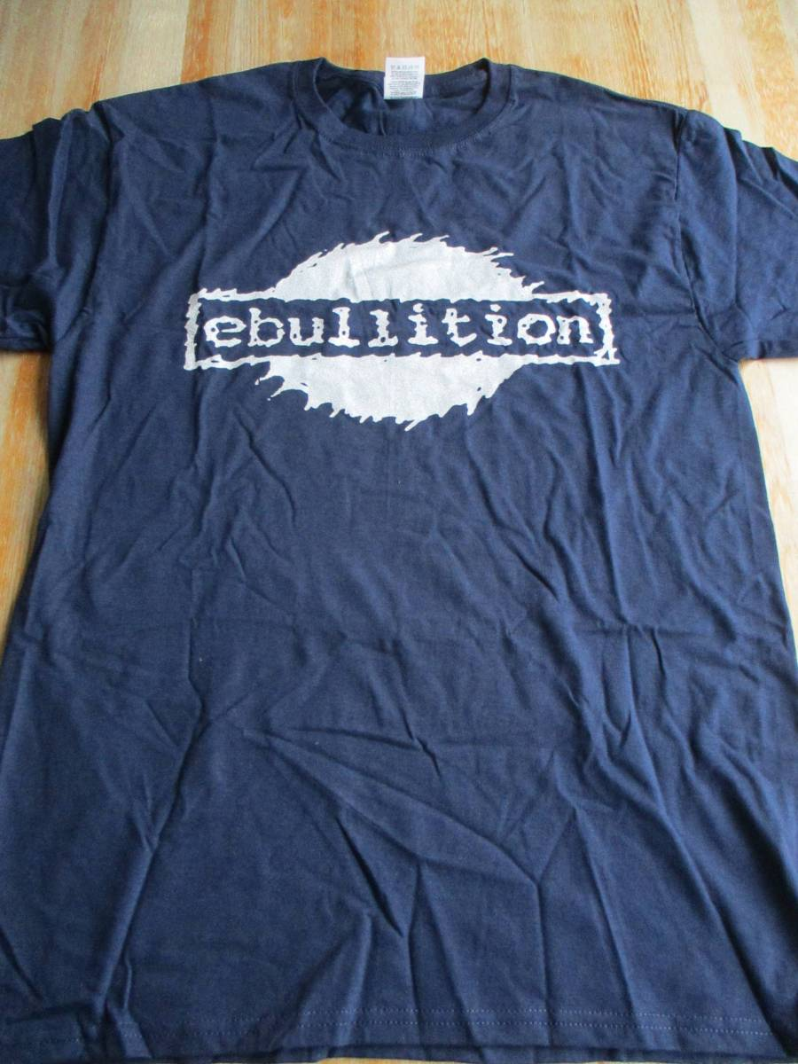 Ebullition Records Tシャツ 紺M / econochrist born against mk ultra spitboy seein' red los crudos his hero is gone