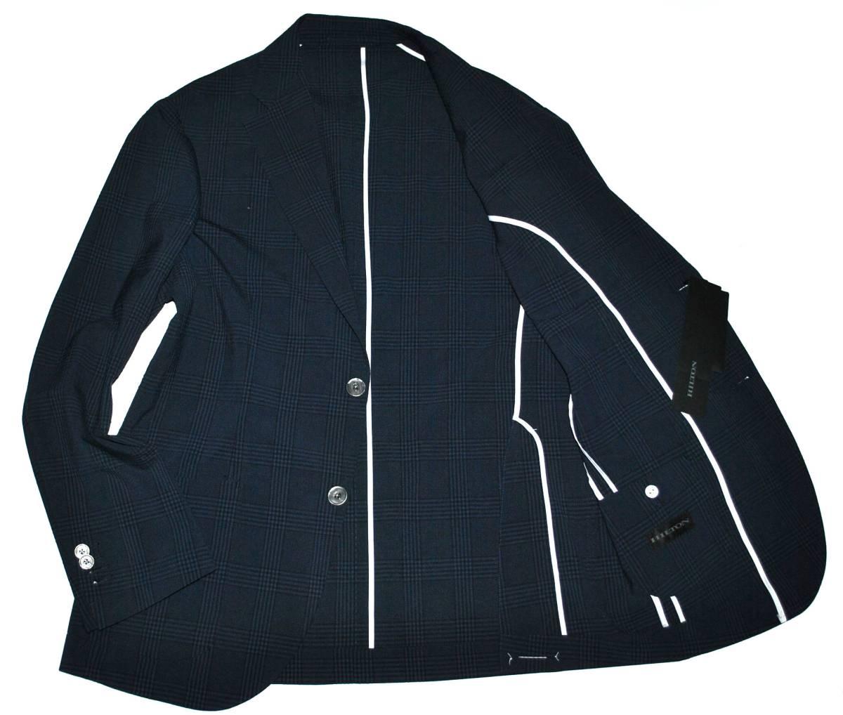 【新品タグ付き】HILTON ヒルトン グレンチェック 濃紺 最高級 ジャケット size L_画像2