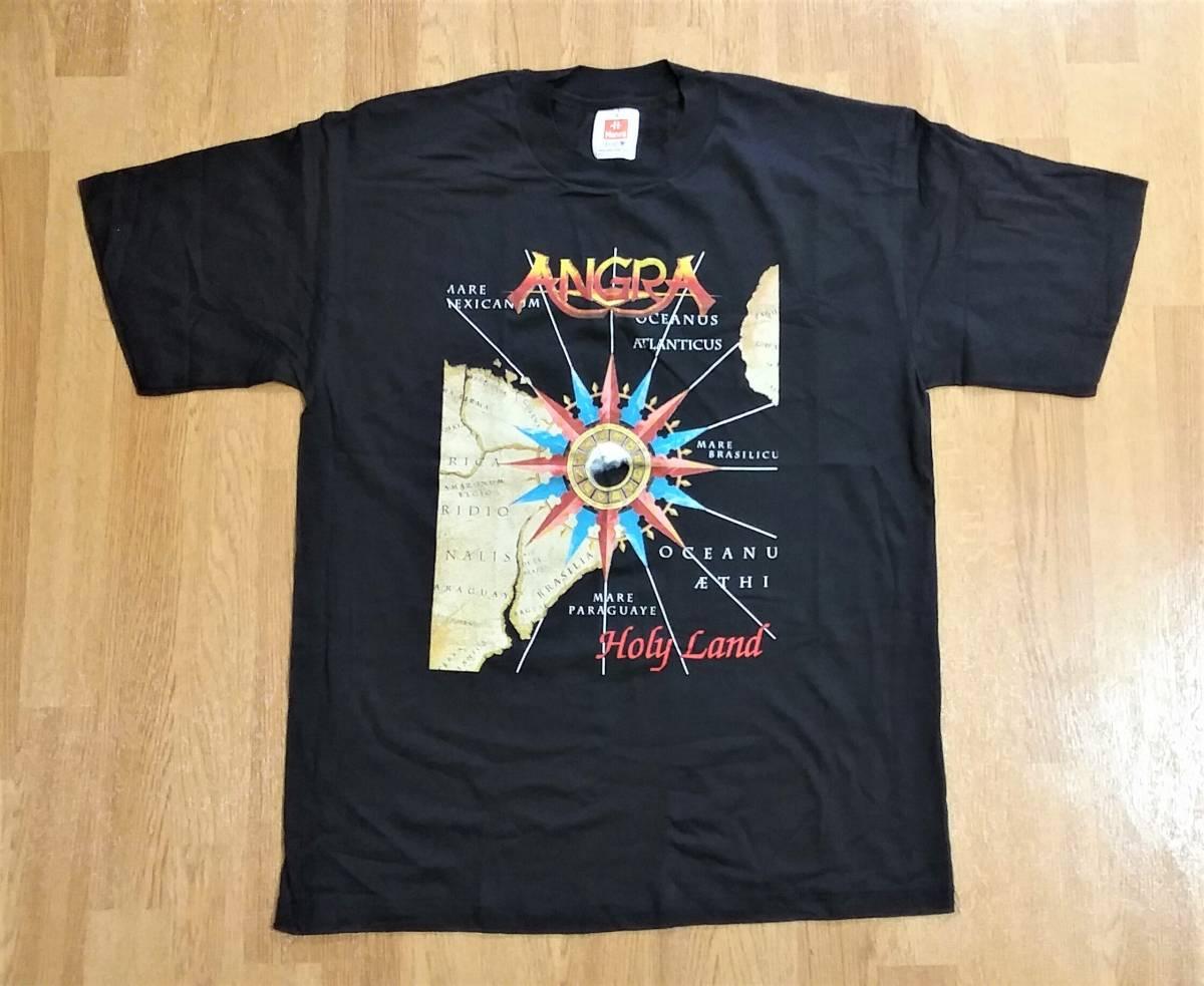 90s VINTAGE ROCK BAND T ANGRA HOLY LAND 96 BLACK L USED DEADSTOCK BRAZIL SAOPAULO バンド ロック T ブラジル サンパウロ アングラ