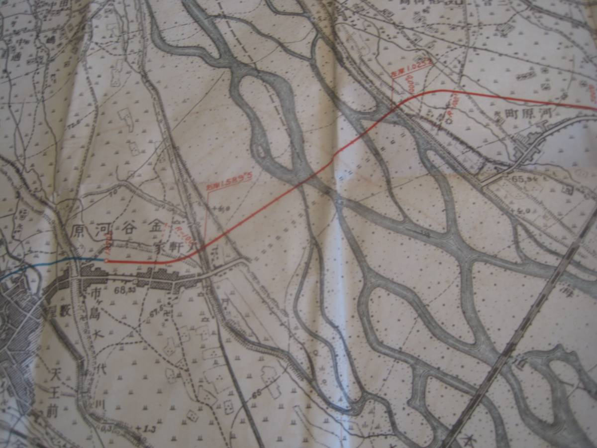 古地図 大井川橋架橋地平面図 静岡県_画像3