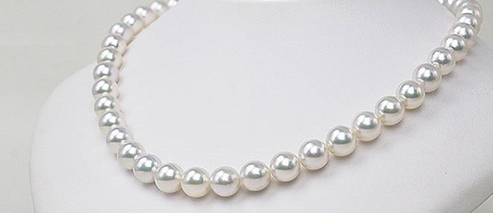 必見!特売!最高級 オーロラ花珠真珠ネックレス 9.5mm-10mm ホワイト系ややピンク 9mm