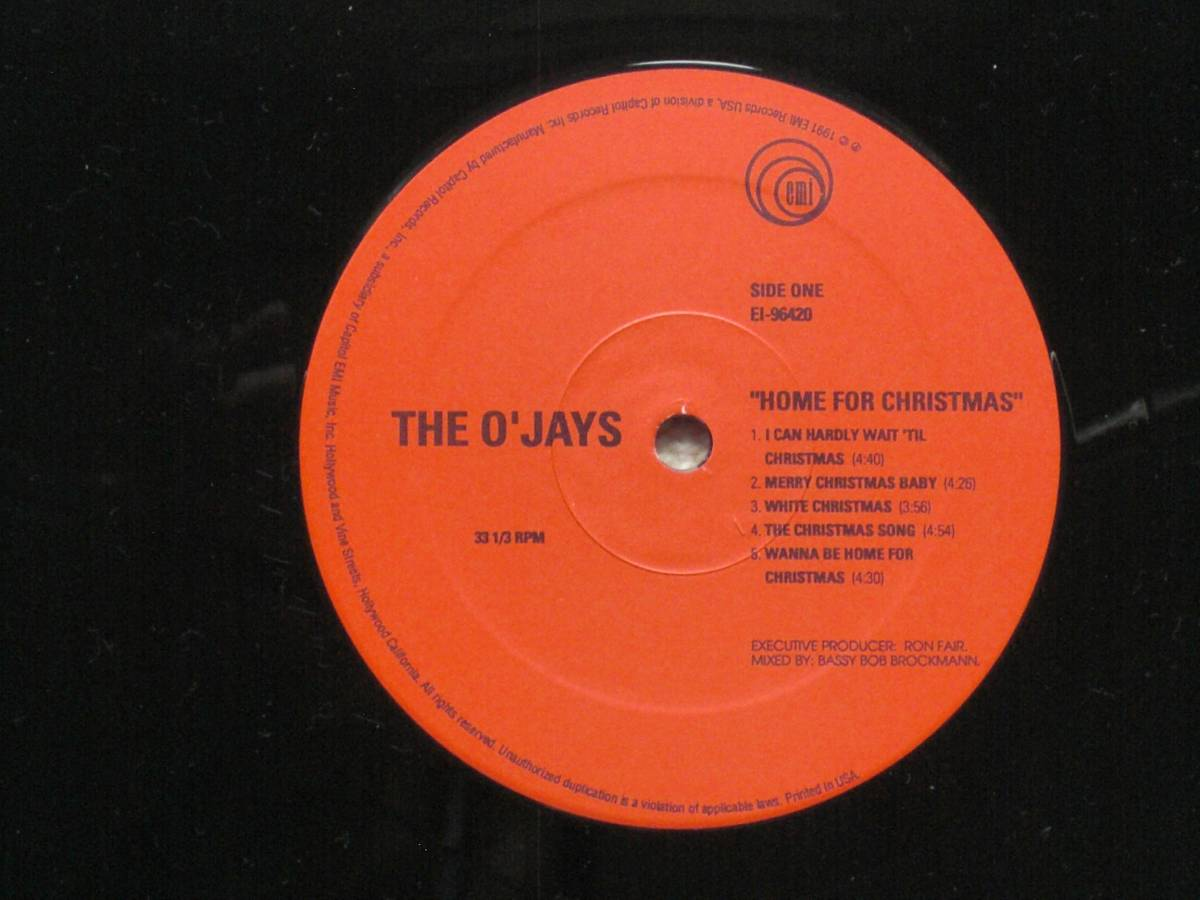 USオリジナル盤LP The O'Jays / Home For Christmas  (EMI Records USA EI-96420 )★ ☆_画像3