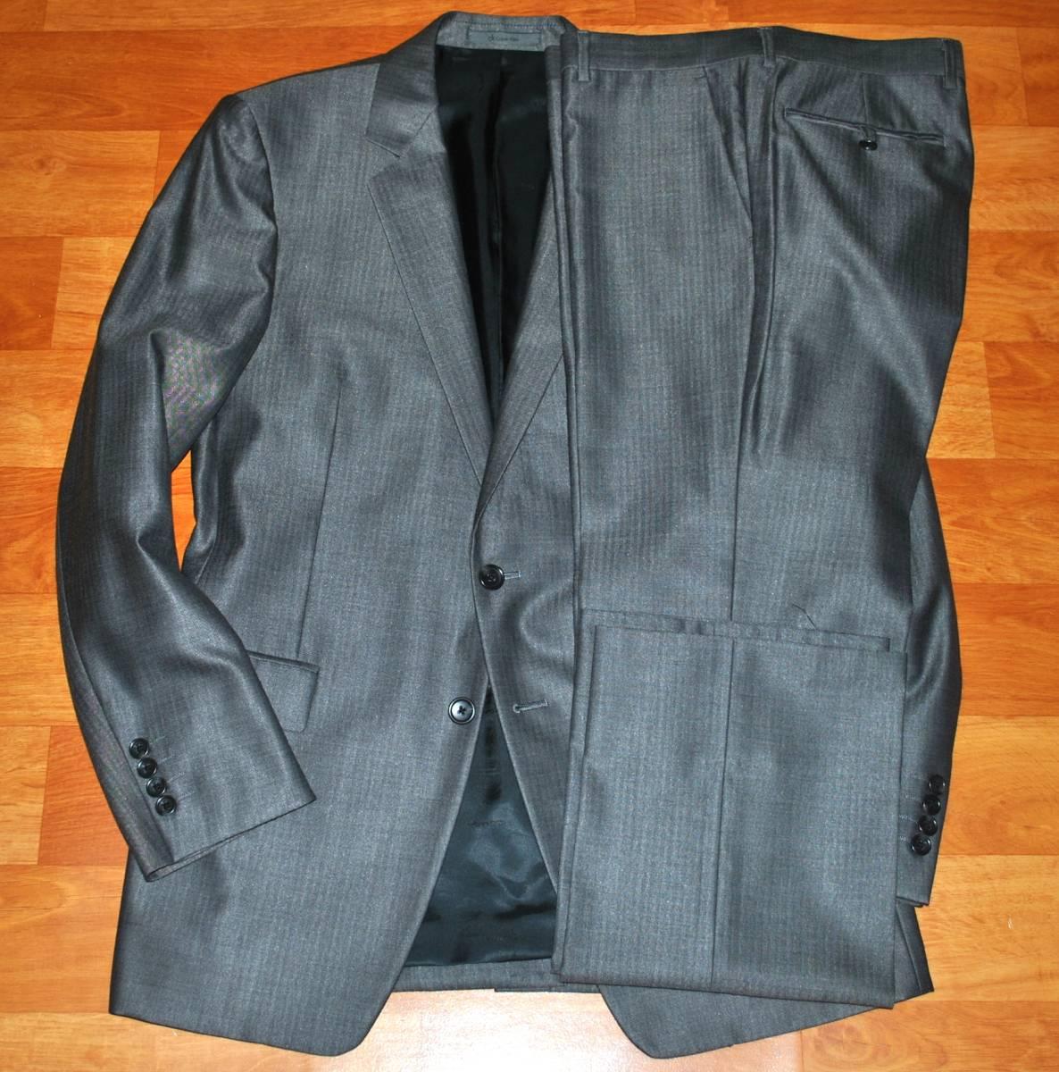 【未使用品】 Calvin Klein カルバンクライン シルク混 最高級 セットアップ スーツ 38 M~L