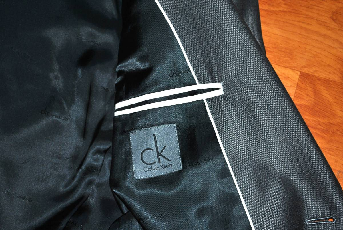 【未使用品】 Calvin Klein カルバンクライン シルク混 最高級 セットアップ スーツ 38 M~L_画像3