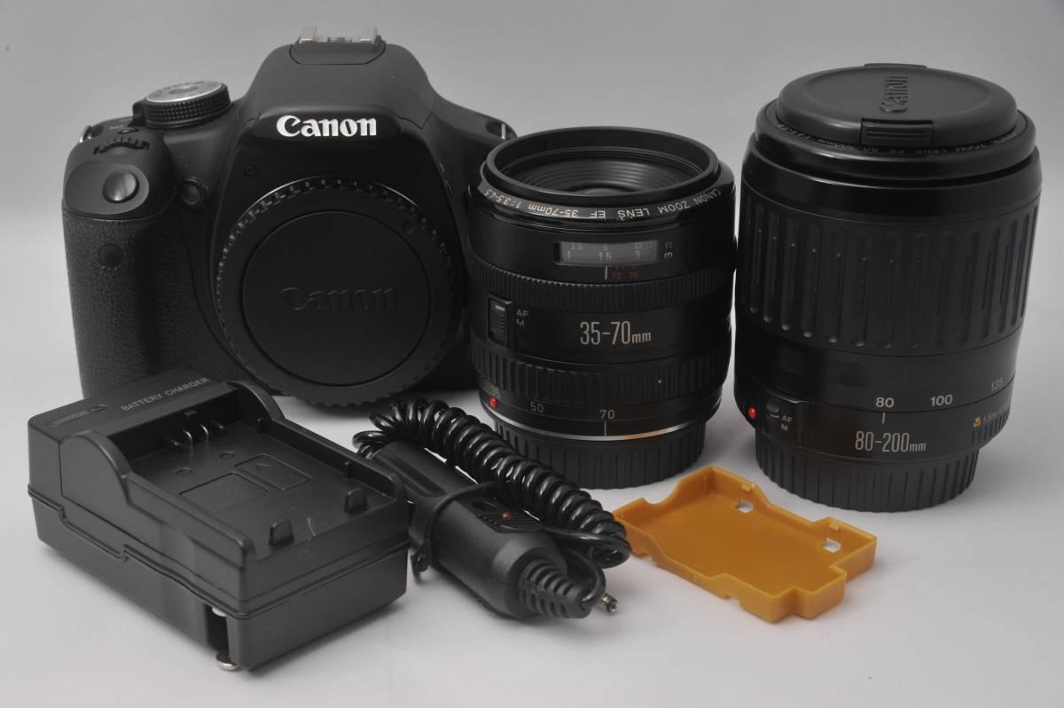 7c043 Canon EOS Kiss X3 ダブルレンズセット 35-70mm & 80-200mm キャノン