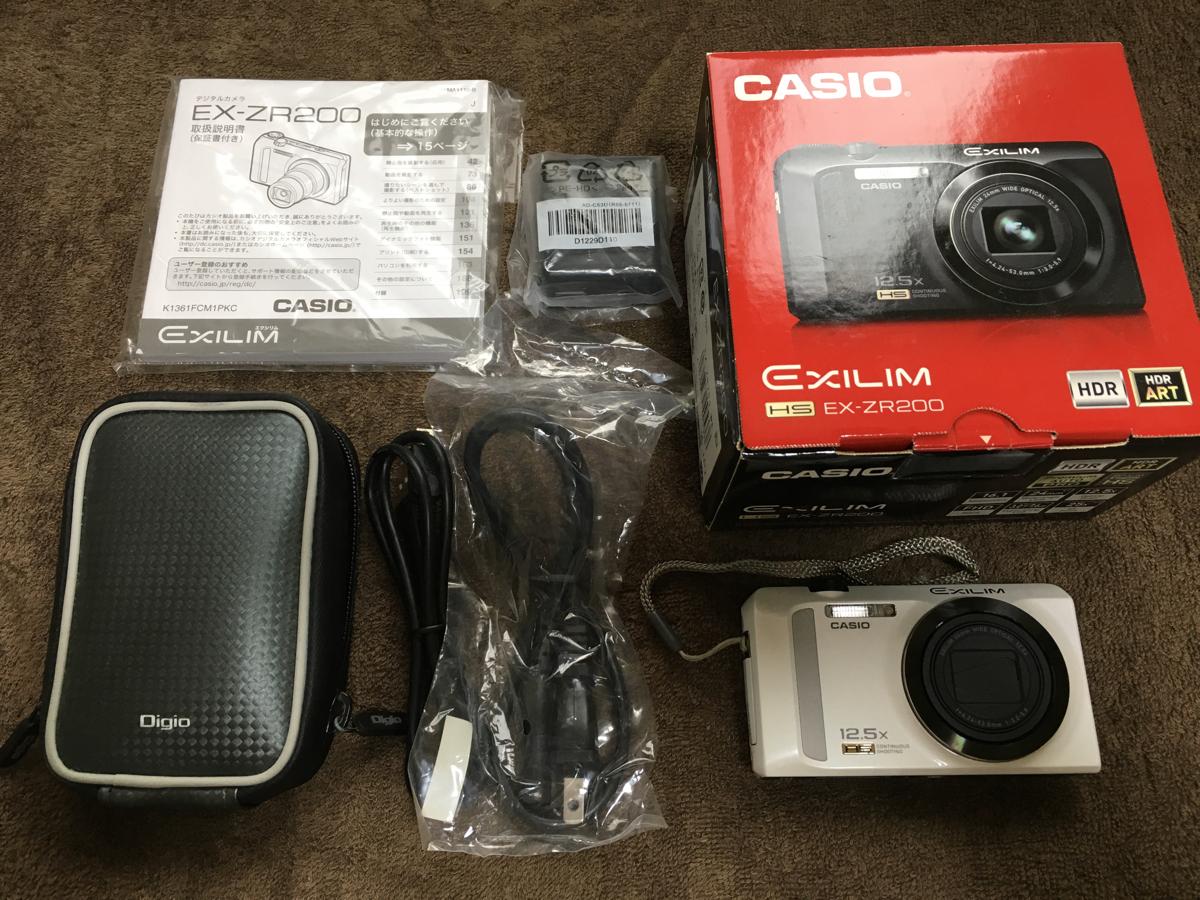 送料無料 美品 CASIO EXILIM EX-ZR200 ホワイト 箱・付属品有 連写処理機能充実