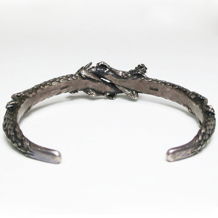 KCRAFT silver bangle Dragon motif SILVER 49g inside surroundings approximately 18cm