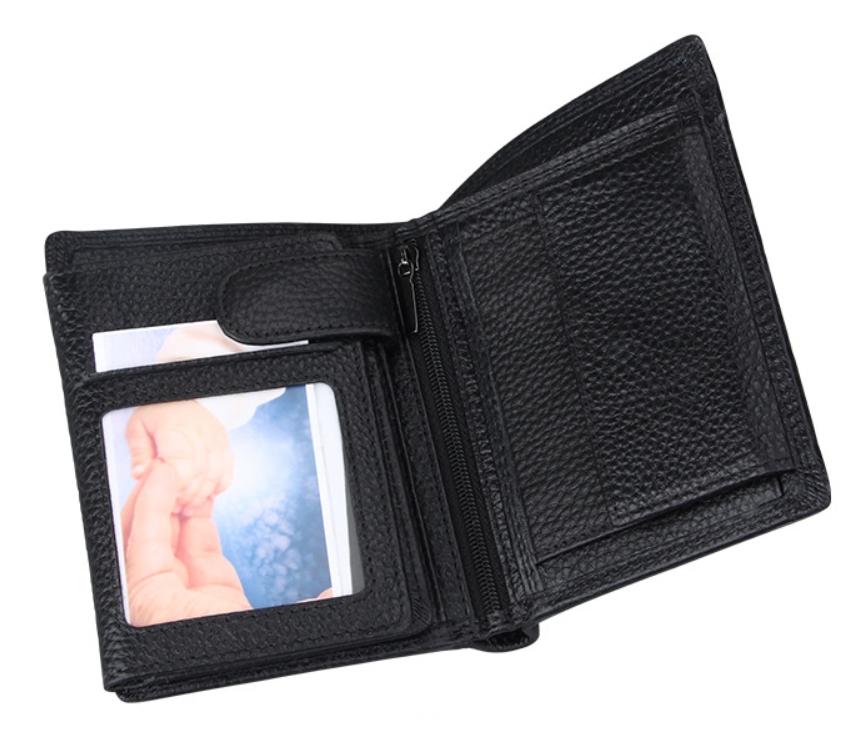 二つ折り 三つ折り 財布 本革 牛革 メンズ 大容量 小銭入 カード10枚 黒色 即決 多機能  二つ折り財布 送料無料_画像7