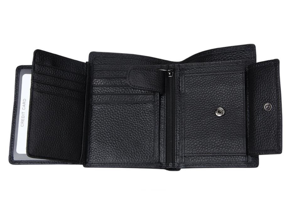 二つ折り 三つ折り 財布 本革 牛革 メンズ 大容量 小銭入 カード10枚 黒色 即決 多機能  二つ折り財布 送料無料_画像5