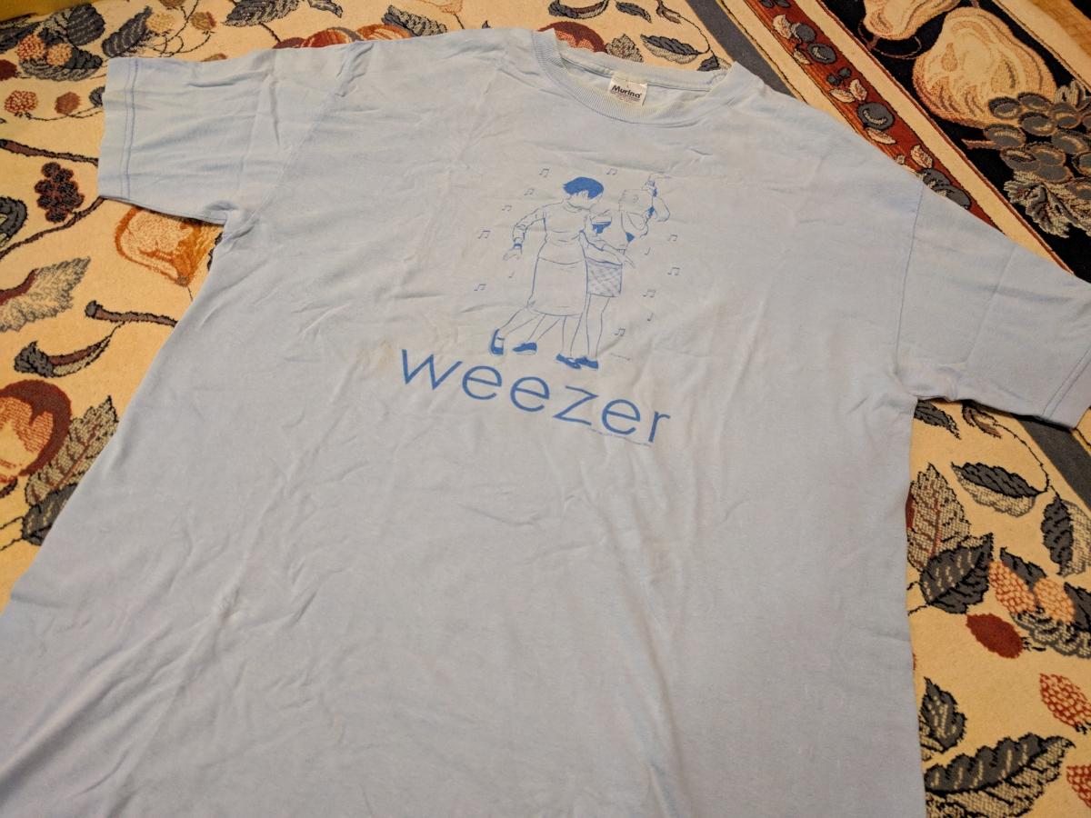 古着!中古!★WEEZER ウィーザー Tシャツ! サイズL(日本サイズXL相当) 水色 ロックT!