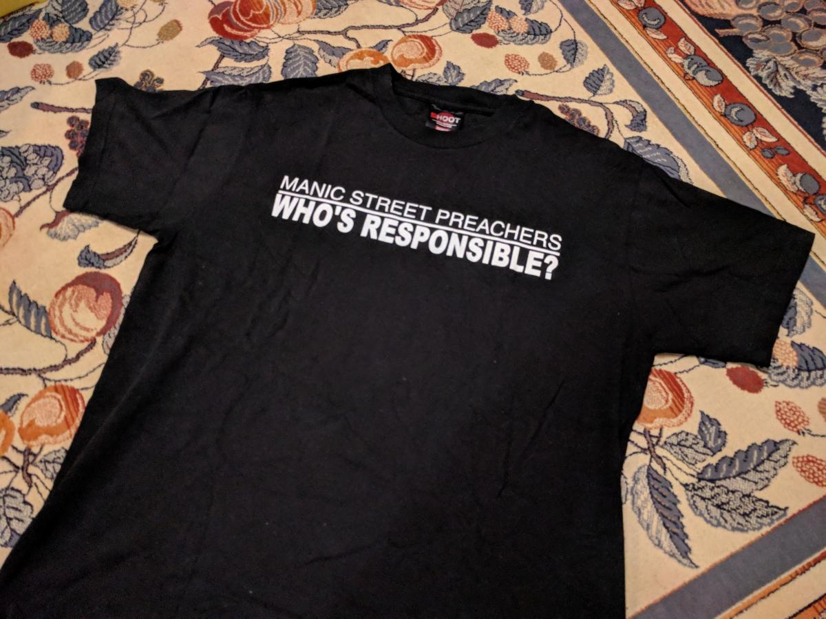 古着!中古!★Manic street preachers マニックストリートプリチャーズ! マニクス Tシャツ! サイズM(日本サイズL相当) 黒色 ロックT!