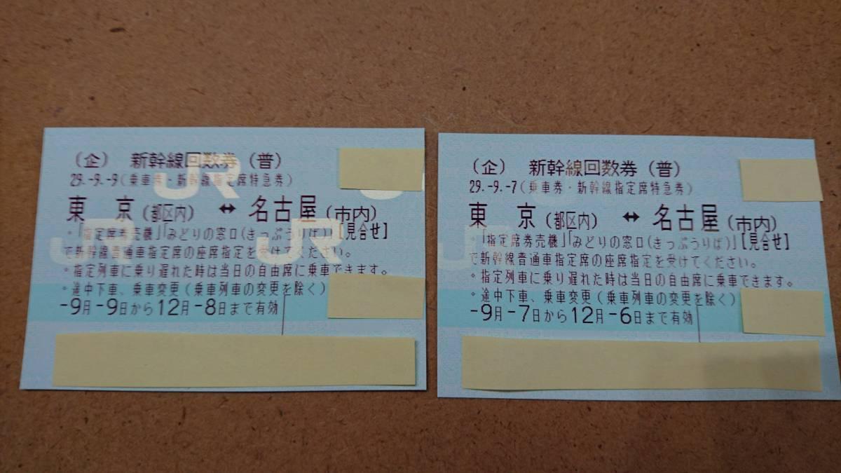 【送料込】新幹線回数券・東京⇔名古屋 指定席2枚セット 有効期限12月6日まで