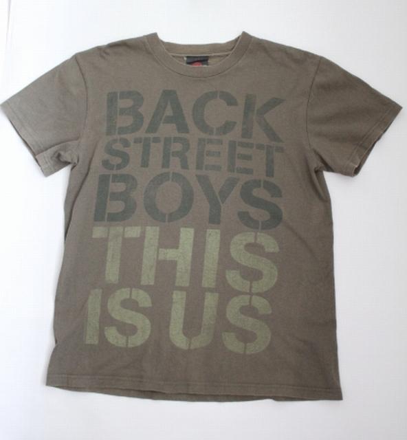 【バックストリート・ボーイズ】 Tシャツ Backstreet Boys  ロゴ 古着 カーキ