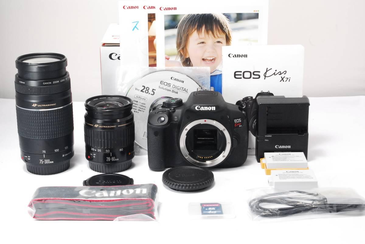★新品級★Canon キヤノン EOS Kiss X7i 300mm超望遠ダブルレンズセット 純正バッテリー 2個 SDカード 安心の一か月保証♪♪