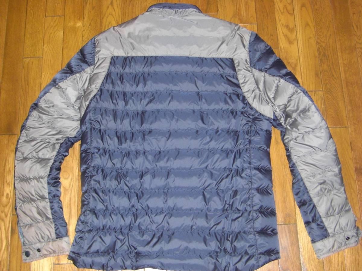 美品 T4ホワイトマウンテニアリングMONCLERモンクレールW サイズ4(XL相当)ダークグレー×カーキ 中綿入りシャツ_画像2