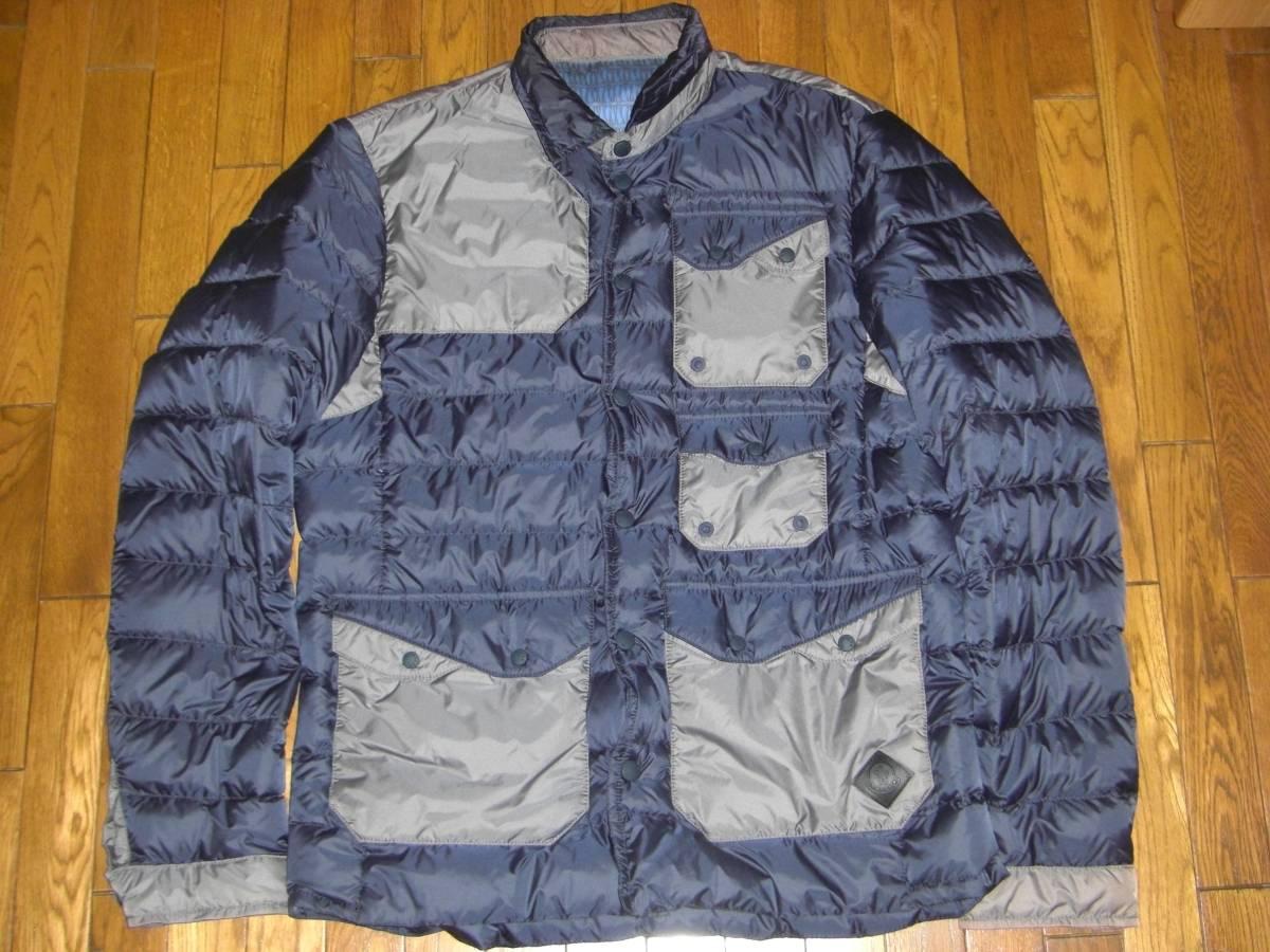 美品 T4ホワイトマウンテニアリングMONCLERモンクレールW サイズ4(XL相当)ダークグレー×カーキ 中綿入りシャツ