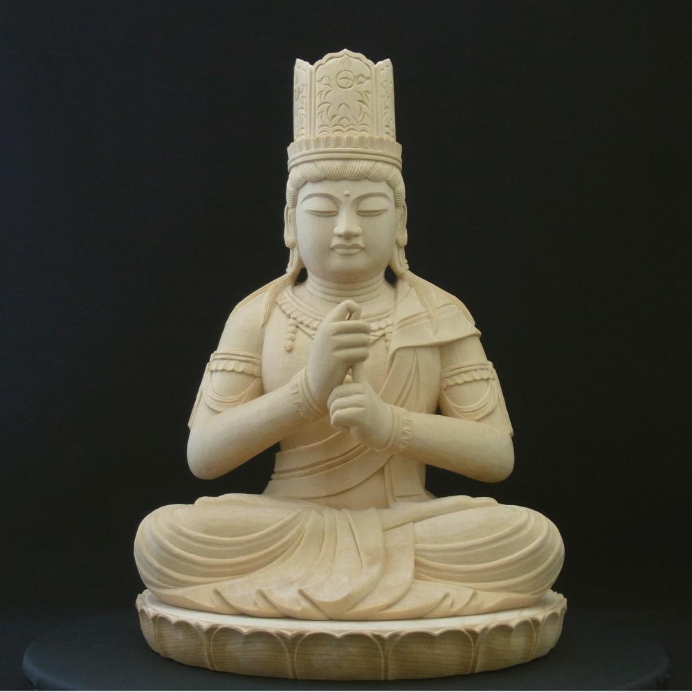 【木彫仏像】 大日如来座像 身丈7寸 簡易蓮台 ひのき 木地仕上げ  木製/中型/真言宗 お家のお守りに 居間・玄関に仏像は如何ですか