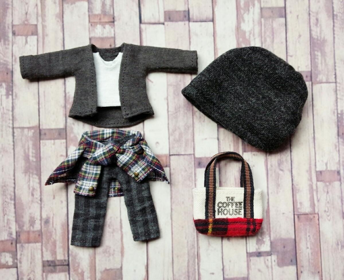 オビツ11 お洋服 D ◆腰巻きシャツ&カーディガン&チェックパンツ‥6点セット◆オビツろいど/服_画像3