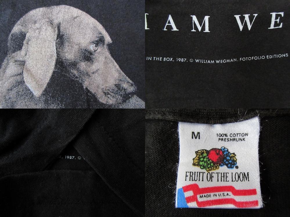 80's 90's USA製 William Wegman ホイットニー美術館 FOTOFOLIO フォト Tシャツ Mワイマナラー ウィリアム ウェッグマンART芸術 現代美術/_使用感,色あせ,ヤケ,薄汚れ,毛羽立ち等有り