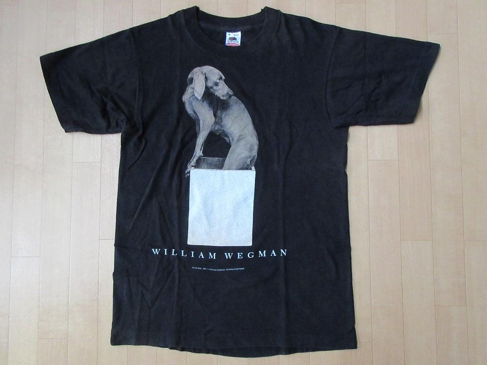 80's 90's USA製 William Wegman ホイットニー美術館 FOTOFOLIO フォト Tシャツ Mワイマナラー ウィリアム ウェッグマンART芸術 現代美術/_ホイットニー美術館・フォト・Tシャツ
