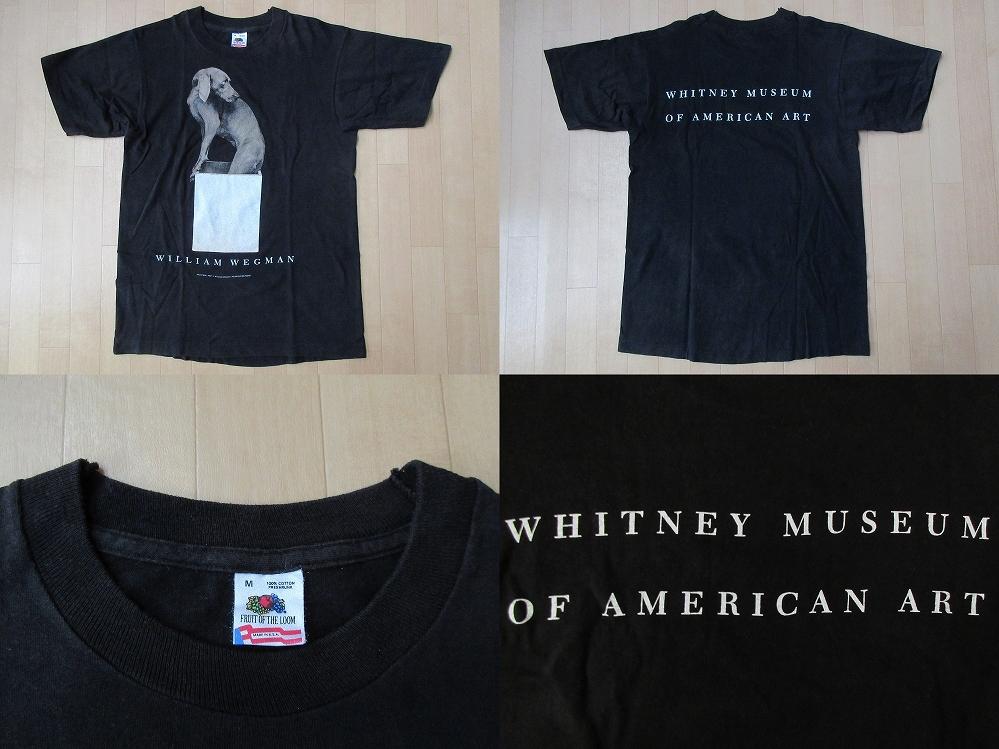 80's 90's USA製 William Wegman ホイットニー美術館 FOTOFOLIO フォト Tシャツ Mワイマナラー ウィリアム ウェッグマンART芸術 現代美術/_上の写真・Tシャツ表面、裏面