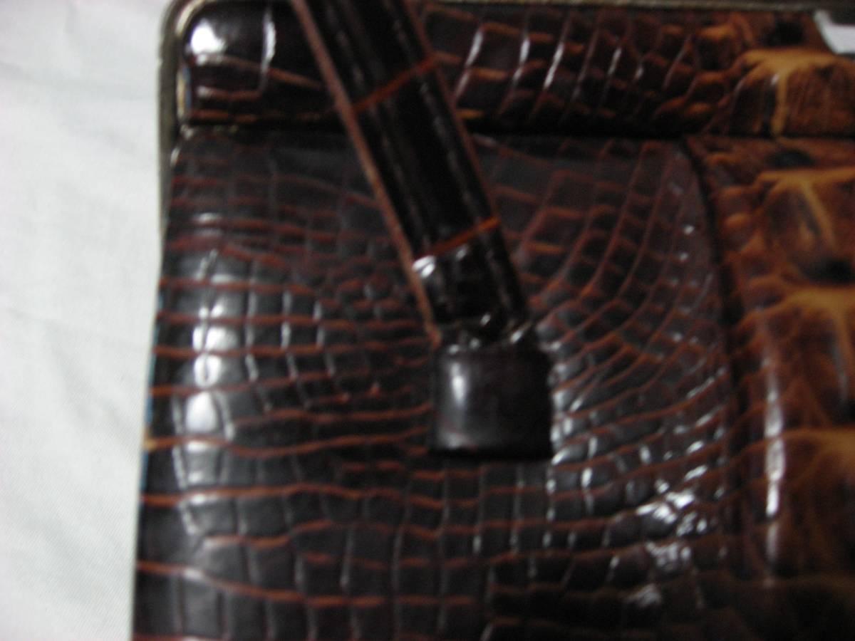 クロコ柄 ハンドバッグ がま口タイプ_画像3