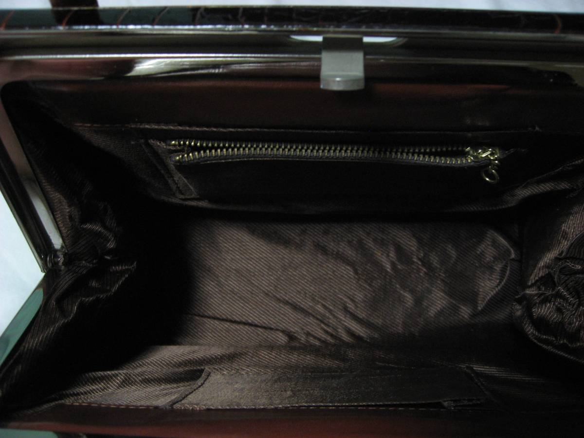 クロコ柄 ハンドバッグ がま口タイプ_画像8