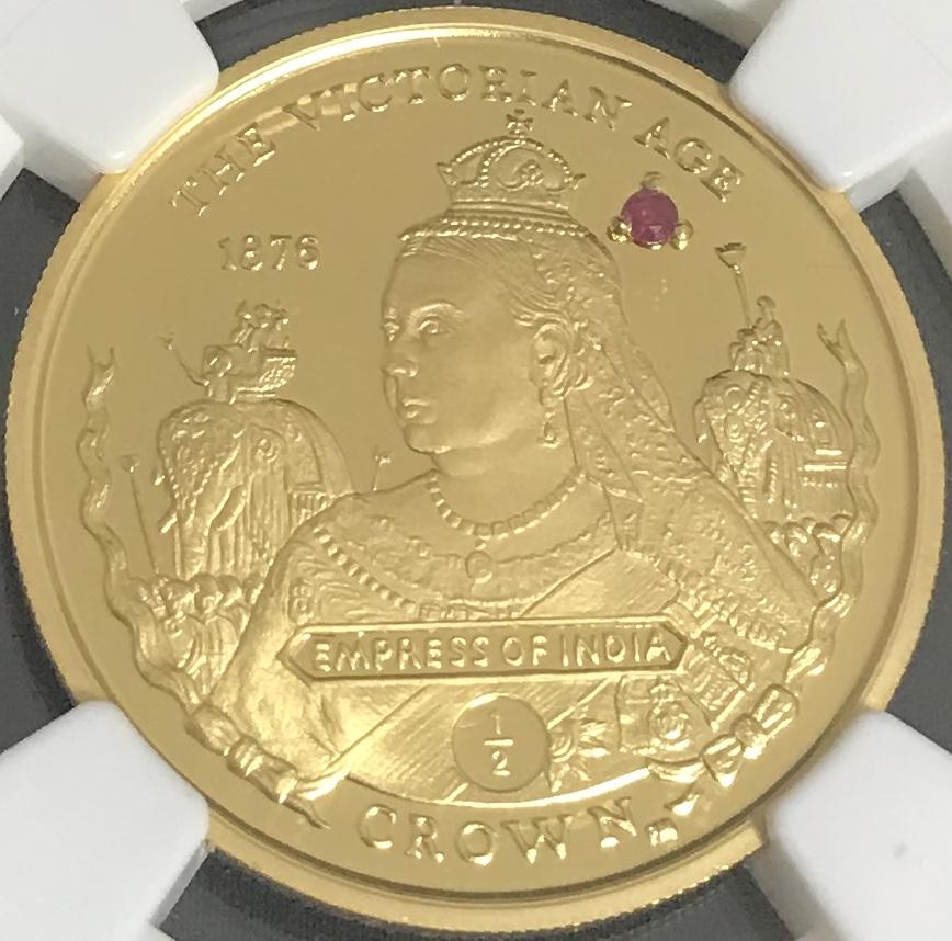 【希少】2001 イギリス領ジブラルタル ビクトリア 1/2クラウンプルーフ金貨 NGC PF69UCAM