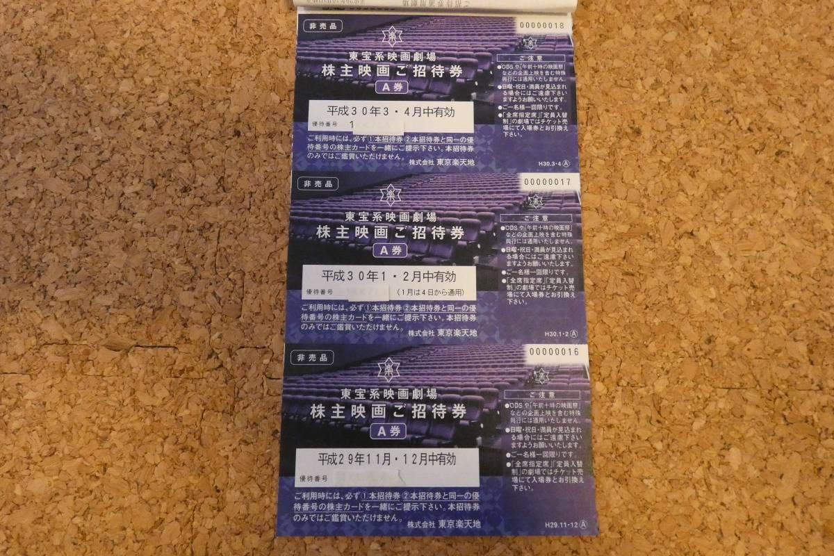 【最新】 東京楽天地 株主優待券 A券6枚 B券12枚 東宝 TOHOシネマズ 平成30年4月迄 要返却