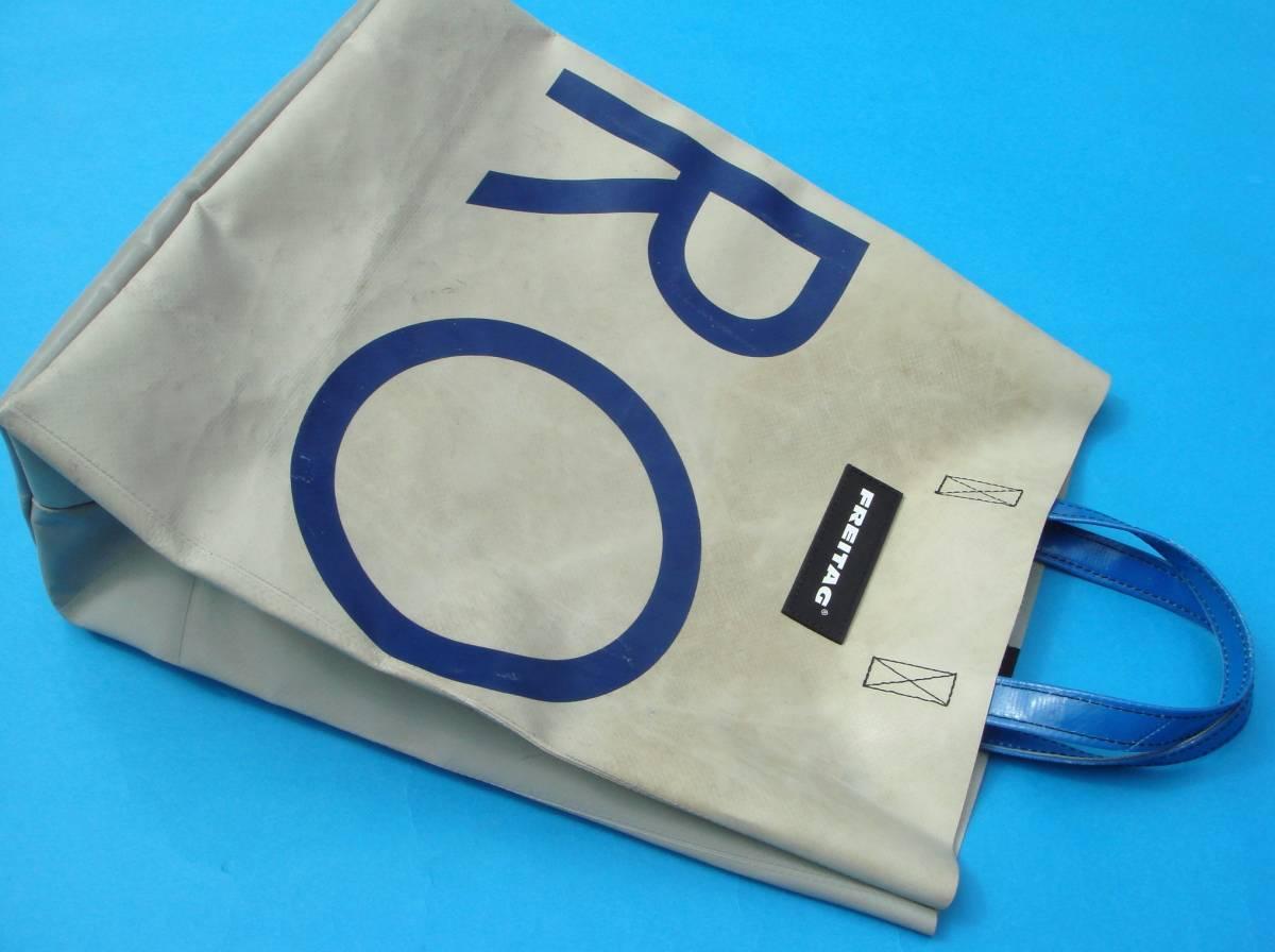 FREITAGフライターグ『F52 マイアミバイス 』グレー紺英字 ブルーハンドル 折り畳みトート_画像3