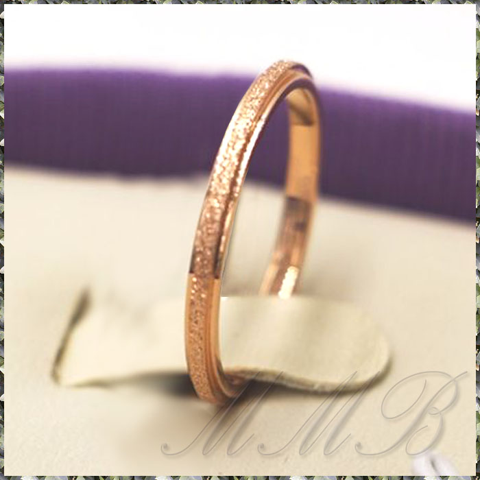 ROSE GOLD PLATED Convex Sand サンド加工 2mm スリム リング 8号
