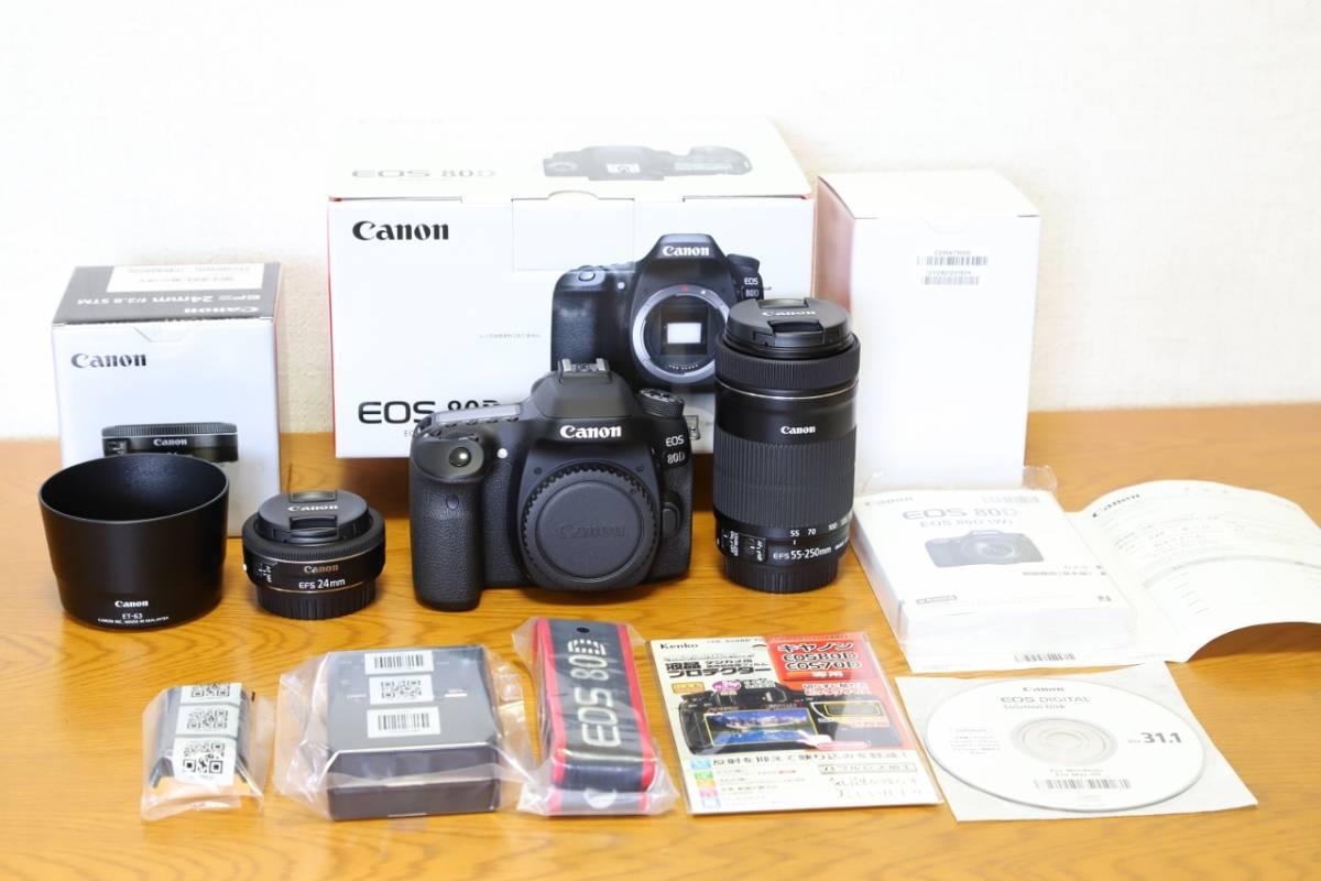 【ほぼ新品 メーカー保証 美品】Canon EOS 80D キヤノン 55-250 EF-S24 単焦点 フード付