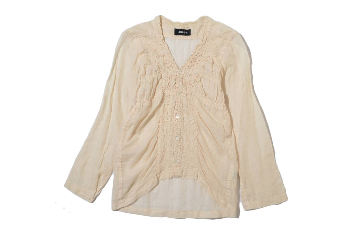 cute. zucca Zucca pleated design linen mix cotton shirt blouse 2 or more points for each successful bid Free Shipping!