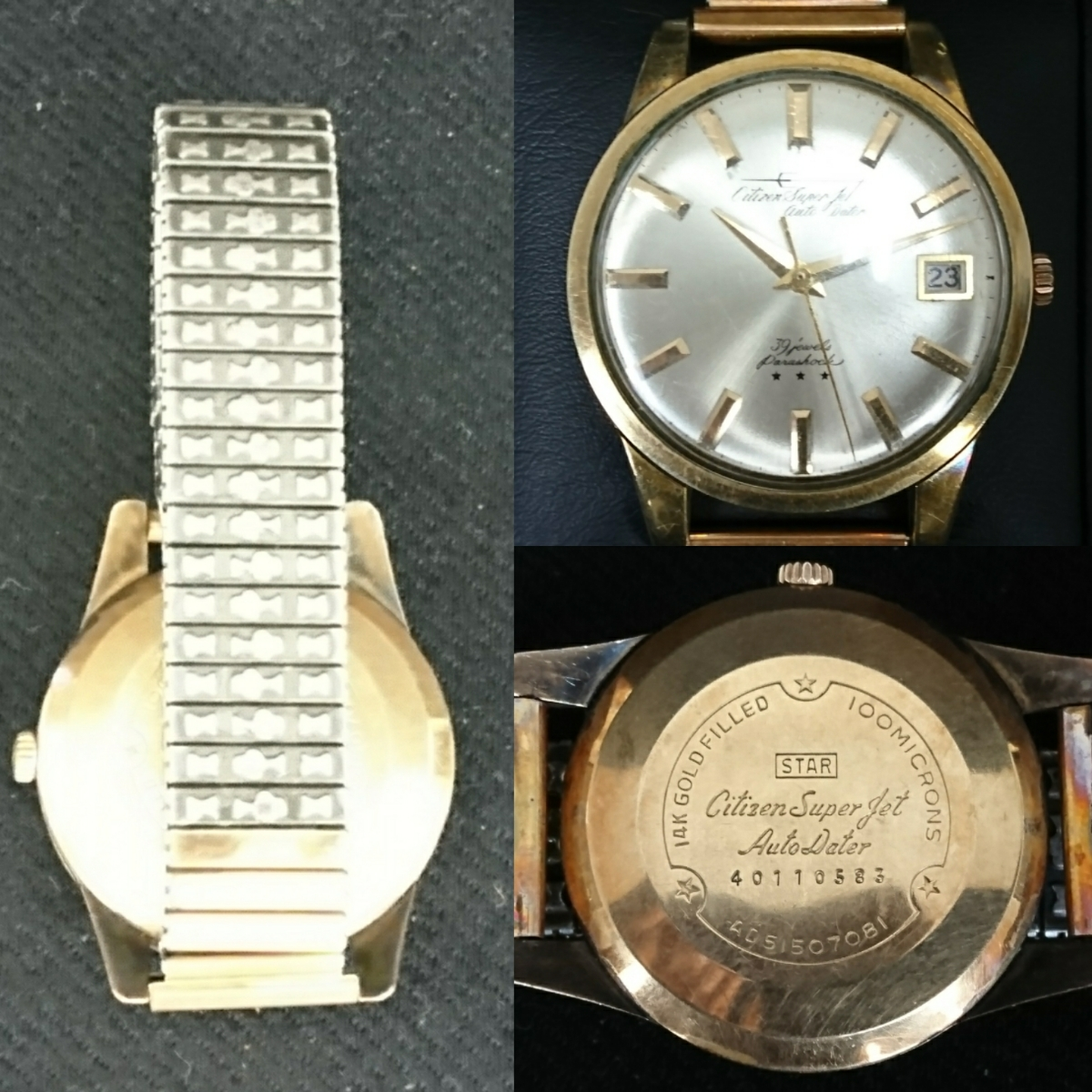 CITIZEN シチズン Super Jet Auto Dater 39jewels スーパージェット 14kGOLDFILLED  稼動品 防風傷あり_画像2