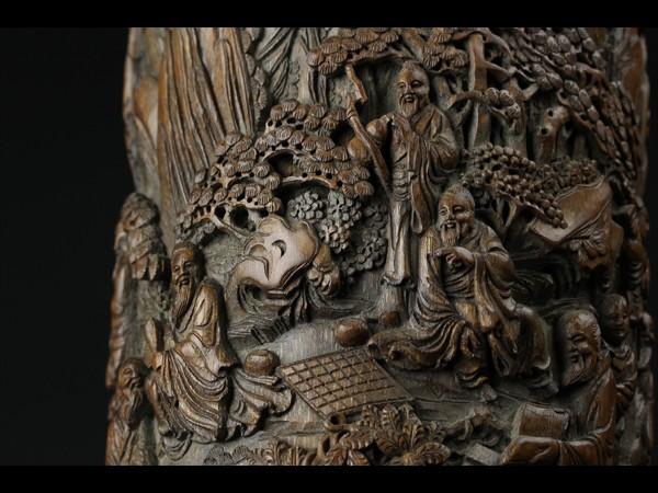 【西】中国古玩 古竹造 細密 松下賢人 彫刻 筆筒 唐物 文房具 極上品 J052
