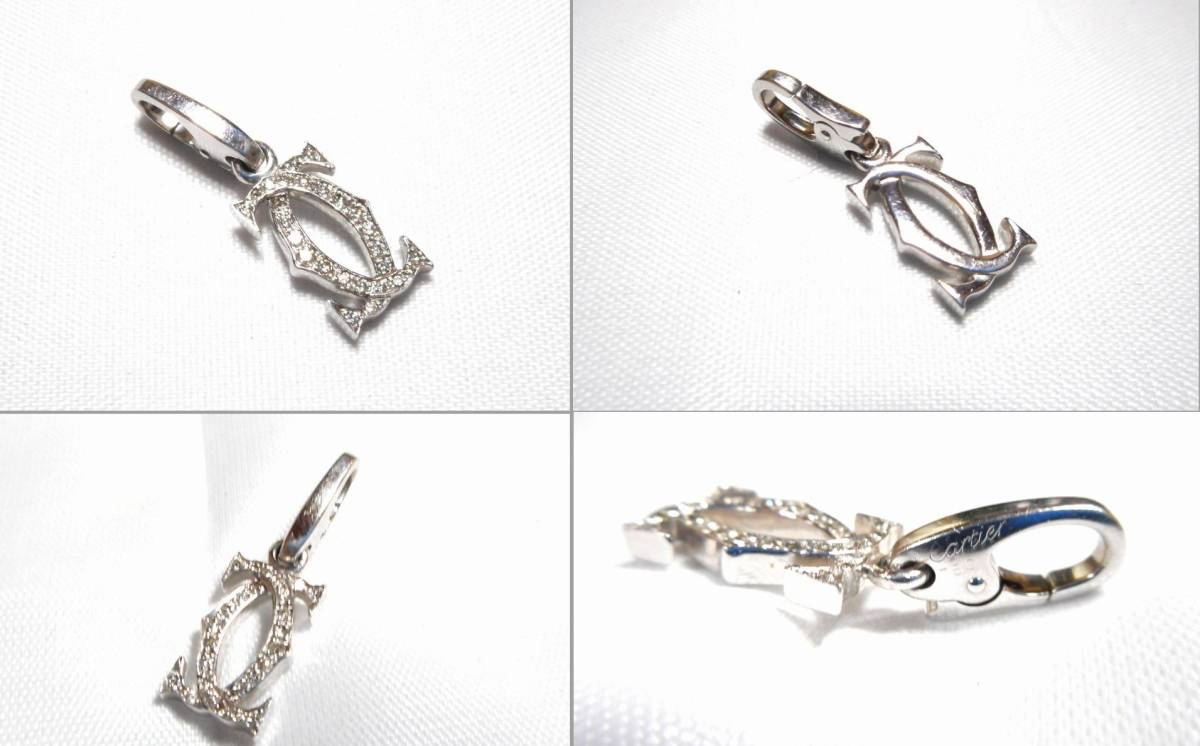 Cartier カルティエ 2C 750WG ペンダントチャーム アフターダイヤ加工します カスタム ネックレス ラブ ドラゴン サントス タンク パシャ_画像4