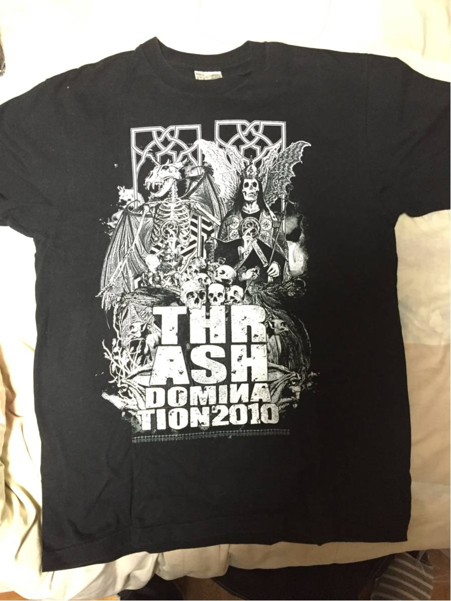 バンドTシャツ THRASH DOMINATION'10 Lサイズ EXODUS OVER KILL OUTRAGE サンクチュアリー