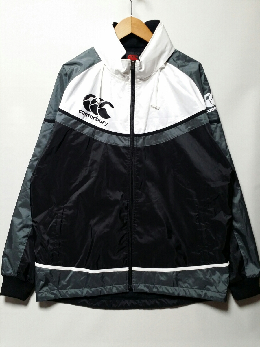 【送料無料】CANTERBERY/カンタベリー/2D ウインドジャケット/フード付き/XL/ホワイト.ブラック/白.黒/即決
