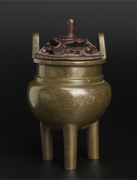清 石叟款 铜嵌银丝三足炉 銅嵌銀絲三足炉 中国 古美術_画像1